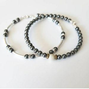 3 for $20 - Hematite beaded bracelet